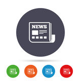 News icon. Newspaper sign. Mass media symbol. Round colourful buttons with flat icons. Vector royalty free illustration