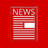 News icon red. Vector icon on red background Stock Images