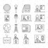 News icon set and media design Royalty Free Stock Photography