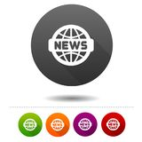 News icon. Word globe symbol sign. Web Button. Eps10 Vector Royalty Free Stock Photo