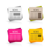 News icons. A set of 4 different color news icons. Isolated on a white surface Royalty Free Stock Photography