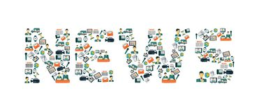 News icons lettering Stock Image