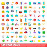 100 news icons set, cartoon style Royalty Free Stock Image