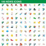 100 news icons set, cartoon style. 100 news icons set in cartoon style for any design illustration royalty free illustration