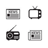 News icons set. Newspapper, tv, radio, web site. Black on a white background Stock Photography