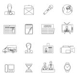 News icons set outline Stock Image