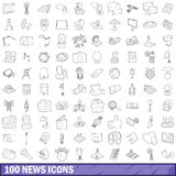 100 news icons set, outline style Royalty Free Stock Image