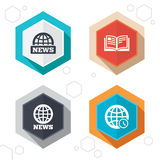 News icons. World globe symbols. Book sign. Hexagon buttons. News icons. World globe symbols. Open book sign. Education literature. Labels with shadow. Vector stock illustration