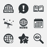 News icons. World globe symbols. Book sign. Stock Photo