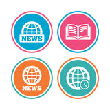 News icons. World globe symbols. Book sign. Royalty Free Stock Photo