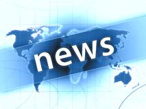 News illustration. Blue news press illustration concept world map Royalty Free Stock Photos