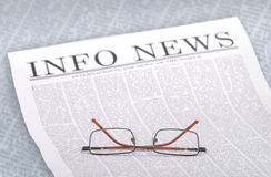 News-info. Info news headline on newspaper page Royalty Free Stock Photo