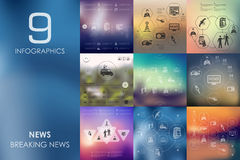 News infographic with unfocused background Stock Photography