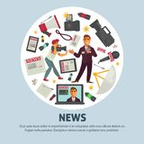 Breaking news poster for journalism profession of vector journalist equipment. News and journalism profession equipment poster of journalist working tools for Stock Photo
