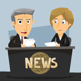 News Journalist Anchorwoman and Anchorman Royalty Free Stock Images