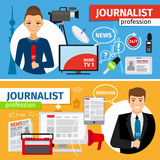News and journalist profession banners set Royalty Free Stock Photography