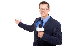 News journalist reporting. Handsome news journalist reporting isolated on white Royalty Free Stock Images
