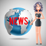 News Journalist Reporting Reporter Female Girl Character Mass Media Symbol on World Globe Background Design Template Royalty Free Stock Photos