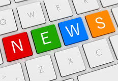 News keyboard concept 3d illustration. News keyboard 3d illustration  on white background Stock Photo