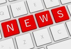 News keyboard concept 3d illustration. News keyboard 3d illustration  on white background Royalty Free Stock Image
