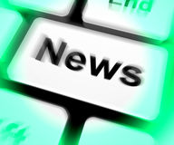 News Keyboard Shows Newsletter Broadcast Online Royalty Free Stock Photo