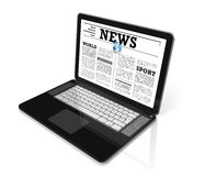News on a laptop computer isolated on white Stock Photo