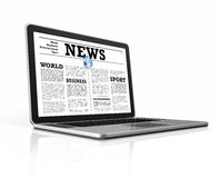 News on a laptop computer isolated on white Stock Images
