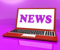 News Laptop Showing Media Newspapers And Headlines Online Royalty Free Stock Image