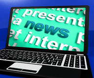 News Laptop Showing Www Media Newspapers And Headlines Online Royalty Free Stock Photo