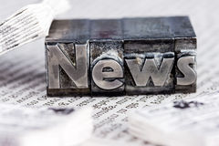 News in lead letters. The word news written with lead letters. photo icon for newsletters, newspapers and information Royalty Free Stock Photography