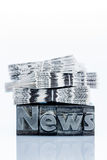 News in lead letters. The word news written with lead letters. photo icon for newsletters, newspapers and information Royalty Free Stock Image