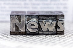 News in lead letters. The word news written with lead letters. photo icon for newsletters, newspapers and information Stock Photo