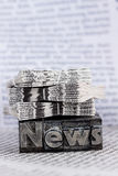 News in lead letters. The word news written with lead letters. symbolic photo for newsletters, newspapers and information Royalty Free Stock Photography