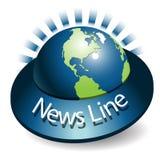 News line. Illustration, blue tape around globe with inscription of the news Stock Photos