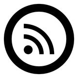 News line sign  icon black color in circle. News line sign icon black color in circle vector illustration Stock Image