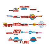 News live breaking label icons set, flat style. News live breaking label icons set. Flat illustration of 25 news live breaking label vector icons for web Royalty Free Stock Image