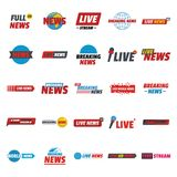 News live breaking label icons set, flat style. News live breaking label icons set. Flat illustration of 25 news live breaking label vector icons for web Royalty Free Stock Photos