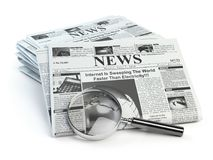 News. Loupe with  periodic ho news newspapers isolated on white. Royalty Free Stock Images