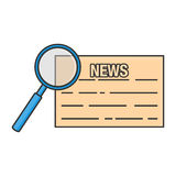 News magnifying, line art Stock Photography