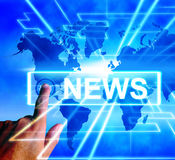 News Map Displays Worldwide Journalism or Media Information Stock Image