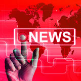 News Map Displays Worldwide Newspaper or Media Information Stock Photo