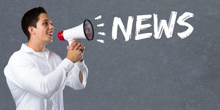 News media announcement announce information young man megaphone. Bullhorn Royalty Free Stock Image