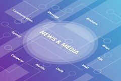 News and media concept words isometric 3d word text concept with some related text and dot connected - vector vector illustration