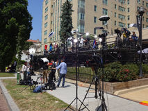 News Media Near the Cuban Embassy. Photo of news media across the street from the embassy of cuba in washington dc on 7/20/15.  A large group of news reporters Stock Images