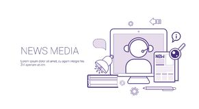 News Media And Press Concept Banner With Copy Space Thin Line. Vector Illustration Stock Photography