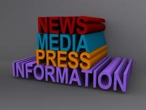 News Media Press Information. 3D words for News Media Press Information Royalty Free Stock Photos