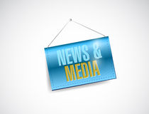 News and media sign hanging banner illustration Royalty Free Stock Photos