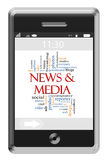 News & Media Word Cloud Concept on Touchscreen Phone. News & Media Word Cloud Concept of Touchscreen Phone with great terms such as social, mobile, internet Royalty Free Stock Image