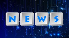 News Message 003 - Keyboard Buttons. High Resolution - Color Blue Background royalty free illustration