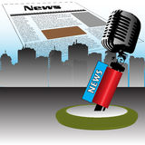 News microphone. Abstract colorful illustration with old microphone standing ready for the latest news and newspaper above skyscrapers. News theme Royalty Free Stock Photos